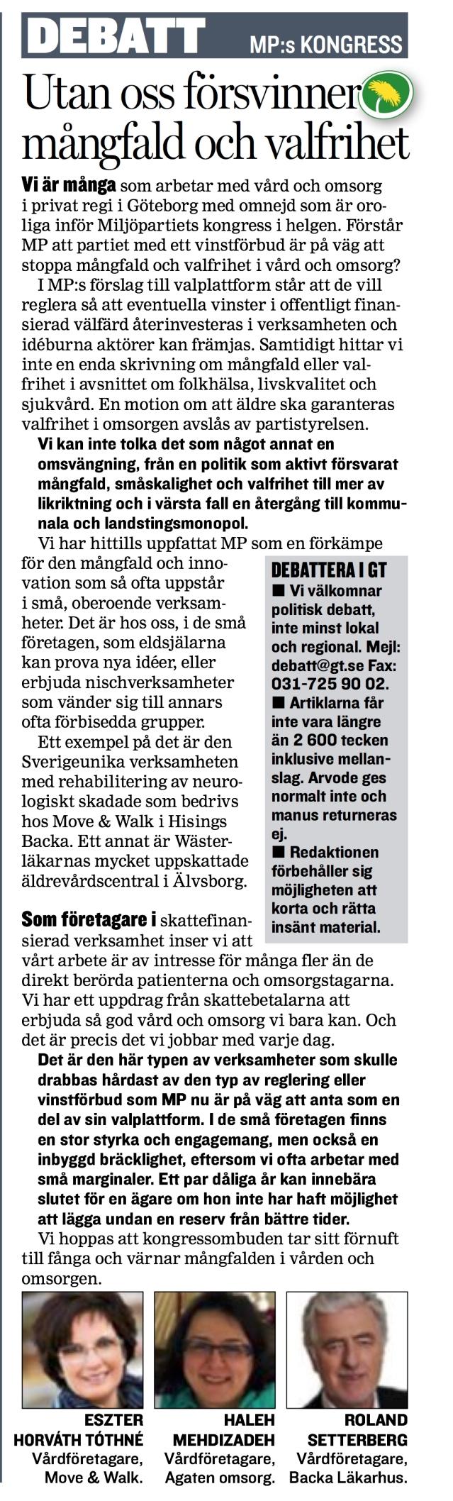 Debattartikel från GT den 30/5 2014: Vårdföretagare oroliga för MP:s välfärdspolitik. Move & Walk kan drabbas